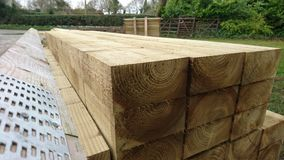 Pile of wood timber beams 2 Stock Images