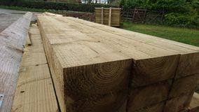 Pile of wood timber beams 3 Royalty Free Stock Images