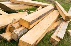 Pile of wooden beams Royalty Free Stock Photos