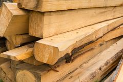 Pile of wooden beams Royalty Free Stock Photography