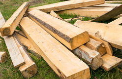 Pile of wooden beams Stock Images