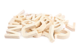 Pile of wooden block letters isolated Royalty Free Stock Photos