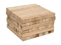 A pile of wooden blocks isolated on white background Stock Photography