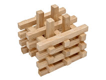 A pile of wooden blocks isolated on white background Stock Photo