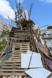 Heap built by the people in preparation for the big bonfire. stock photo