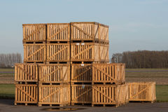 Pile of wooden boxes Stock Photo