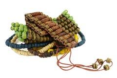 Pile of wooden bracelets Stock Images