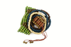 Pile of wooden bracelets Royalty Free Stock Photos
