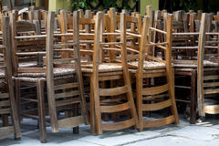 Pile of wooden chairs Stock Images
