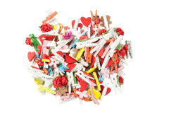Pile of wooden clips isolated on white background Stock Photos