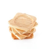 Pile of wooden coasters Royalty Free Stock Photos