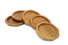 Pile of wooden coasters for glass Stock Photo