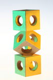 Pile of wooden cubes Stock Images