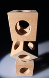 Pile of wooden cubes Royalty Free Stock Images
