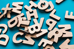 Pile of wooden english letters background. Copy space. Alphabet study, abc, education concept Royalty Free Stock Photos