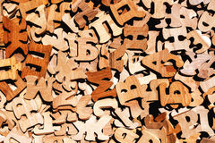Pile of wooden letters. As literacy and education background Royalty Free Stock Images