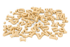 Pile of wooden letters, 3D rendering. Isolated on white background Stock Photography