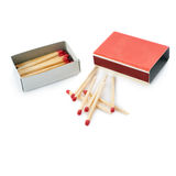 Pile of Wooden matches with box isolated over the white background Stock Images