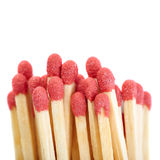 Pile of Wooden matches isolated over the white background Stock Images