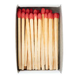 Pile of Wooden matches isolated over the white background Stock Photo