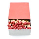 Pile of Wooden matches isolated over the white background Royalty Free Stock Images