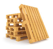 Pile of wooden pallets  on white background Stock Photo