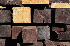 Pile of wooden planks and beams Royalty Free Stock Images