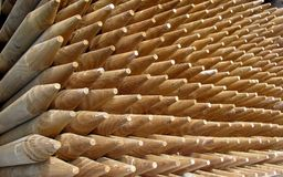 Pile of sharp point wooden poles Stock Photography