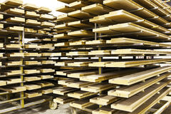 Pile of woods. Pile of wood planks in a workshop Royalty Free Stock Image