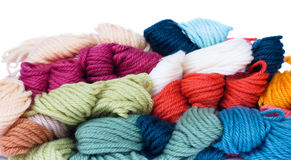 Pile of woolen yarns Stock Image