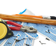 Pile of working tools over isolated white background Royalty Free Stock Image