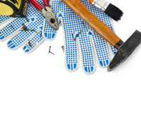 Pile of working tools over isolated white background Stock Image