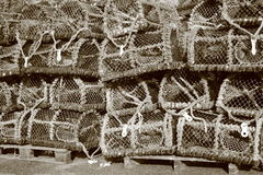 Pile of worn fishing traps for eels Royalty Free Stock Photo
