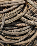 Pile of worn out bike tires Royalty Free Stock Photo