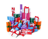 Pile of wrapped presents Royalty Free Stock Image