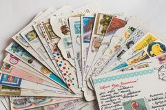 Pile of written postcards royalty free stock photos