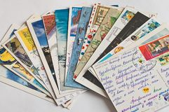 Pile of written postcards stock photography
