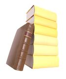 Pile of yellow books with an old leather bound boo Stock Images