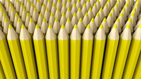 A pile of yellow 3d crayon on a white background Royalty Free Stock Images