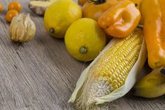 Pile of yellow and orange fruit stock photography