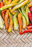 Pile of yellow and red thai goat pepper Stock Photos