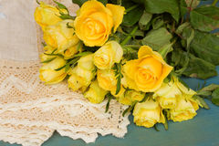 Pile of yellow roses Stock Photos