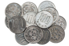 Pile of 100 yen coins japanese money. Royalty Free Stock Photography