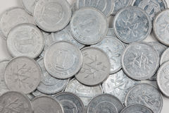 Pile of 1 yen coins japanese money, pattern. Royalty Free Stock Photo