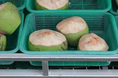 Pile young coconut fresh basket Royalty Free Stock Image