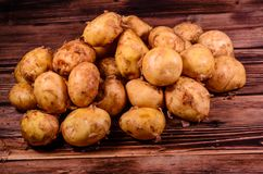 Pile of the young potato on wooden table. Pile of young potato on rustic wooden table Royalty Free Stock Photos