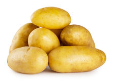 Pile of young potatoes on white background stock photography