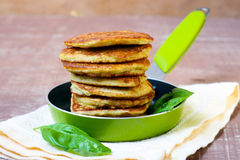 Pile of zucchini fritters Royalty Free Stock Images