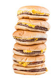 Piled burgers Stock Photography