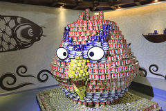 Piled with cans, into the angry birds Royalty Free Stock Image